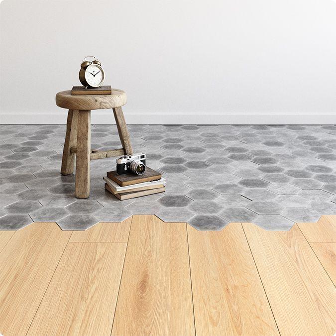 Suelo de madera y hexágonos de cemento